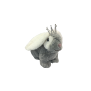 19CMH GREY AND WHITE FUR CROUCHING BUNNY WITH CROWN