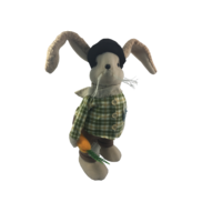 40CMH GREEN/CREAM CHECKED SHIRT STANDING BOY BUNNY