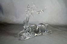 LARGE CLEAR ACRYLIC SITTING DEER