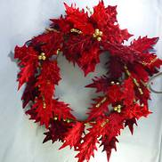 RED VELVET HOLLY LEAF WREATH