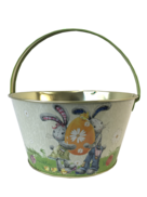METAL EASTER BASKET BOY & GIRL  BUNNY DESIGN