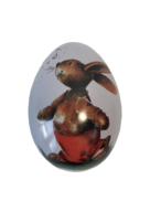 SMALL METAL EGG - BUNNY IN RED SHORTS (MIN 12)