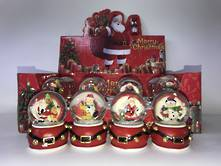 SET12 SNOWGLOBES ON SANTA BELT BASE