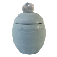 BLUE CERAMIC EGG WITH BUNNY ON TOP