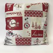RED BEIGE PATCH WORK CUSHION - INCLUDES INNER