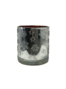 SILVER SNOWFLAKE RED INSIDE VOTIVE