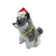 MOVING DOG IN CHRISTMAS HAT HUSKY
