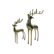 PAIR OF LARGE BRASS GOLD DEER