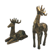 PAIR AGED GOLD ROBOTIC DEER