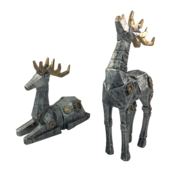 PAIR AGED SILVER ROBOTIC DEER