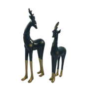 PAIR AGED BLUE GOLD BOOTED DEER