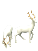 PAIR LARGE WHITE WITH GOLD ANTLER DEER