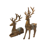 PAIR DARK GOLD FLORAL SADDLED DEER