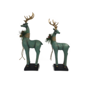 PAIR LARGE AQUA DEER