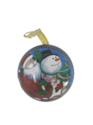 SANTA/SNOWMAN IN SLEIGH METAL HANGING BALL (12)