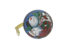 SANTA/SNOWMAN IN SLEIGH METAL HANGING BALL