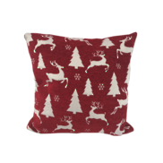 RED/WHITE GLITTERED DEER TREE CUSHION