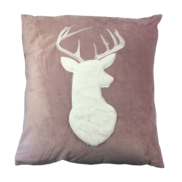 PINK VELVET WHITE DEER CUSHION