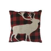 TARTAN WITH WHITE DEER CUSHION