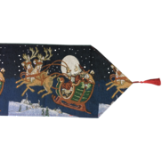 BLUE AND SANTA SLEIGH TABLE RUNNER