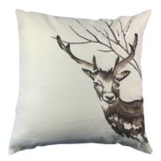 BROWN EMBROIDERED DEER HEAD CUSHION