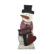 WOODEN SNOWMAN 'WELCOME'
