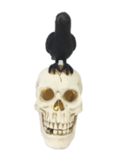 LED LOOKING UP SKULL WITH CROW