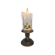 KIDS AND TREE CANDLE SNOWGLOBE - BLOWING