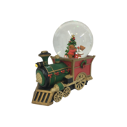 WIND-UP,  BEARS AND TREE ON TRAIN SNOWGLOBE
