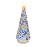 WHITE SWIRL TREE SNOWGLOBE