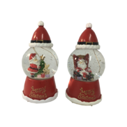 SET 2, LED,  SNOWGLOBES WITH SANTA HAT  TOP