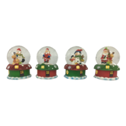 SET 4, SANTA HOUSE SNOWGLOBES
