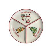 CERAMIC ROUND  CHRISTMAS TRI PLATE