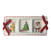 CERAMIC RECTANGLE CHRISTMAS TRI PLATE