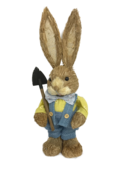 BOY STRAW BUNNY IN BLUE BOW TIE HOLDING SPADE