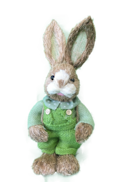 BOY STRAW BUNNY, GREEN SUIT WITH EGG IN BACKPACK