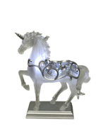 CLEAR SILVER UNICORN SNOWGLOBE
