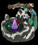 CHRISTMAS EVE SCENE , WATER FOUNTAIN & XMAS TREE