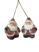 PAIR FROSTED SANTA HANGERS