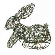 WIRE& RATTAN CROUCHING EASTER RABBIT