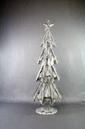 60CMH WHITE/SILVER METAL TREE