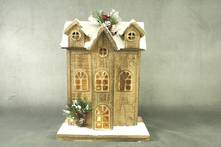 31CMH NATURAL WOOD 3 STORY HOUSE WITH LIGHTS