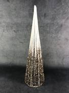 40CMH WHITE AND GOLD GLITTER STRING CONE TREE