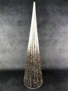 60CMH WHITE AND GOLD GLITTER STRING CONE TREE