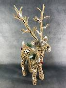 38CMH RATTAN AND STRING STANDING DEER WITH XMAS MIX