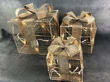 SET3 GOLD STRING BOXES WITH HESSIAN BOW LED