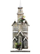 70 CMH WHITE WASH WOODEN CHURCH WITH LED