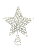 SILVER METAL RIBBON STAR TREE TOPPER