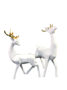 PAIR WHITE DEER WITH GOLD ANTLERS