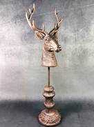 60CMH DEER HEAD ON ROUND PLINTH